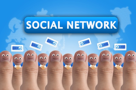 validation: Smiling cartoon face on human thumb up on background, SOCIAL NETWORK