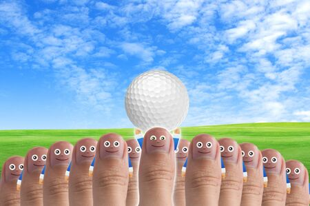 Smiling cartoon face on human thumb up on background Stock Photo - 10473588