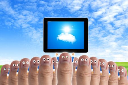 Smiling cartoon face on human thumb up on background, CLOUD COMPUTING Stock Photo - 10473580