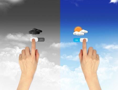 finger pressing on and off button for weather forecast concept photo