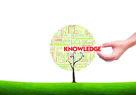 knowledge tree: hand picking Business word cloud concept in tree form on isolated white background,knowledge