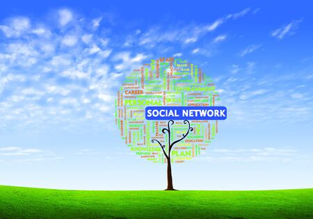 social marketing: Business word cloud concept in tree form on isolated white background, social network