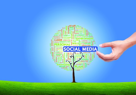 Business word cloud concept in tree form on isolated white background, social network photo