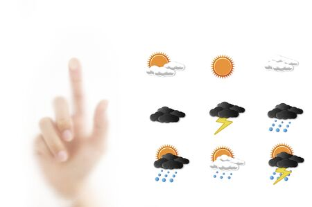 Weather forecast icon with hand for point forecasting photo