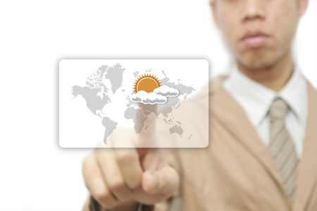 Businessman pressing finger on weather forecast button photo