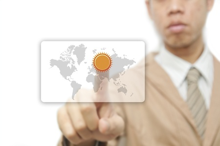 Businessman pressing finger on weather forecast button Stock Photo - 10473331