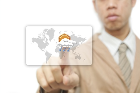 night suit: Businessman pressing finger on weather forecast button Stock Photo