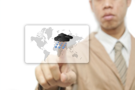 Businessman pressing finger on weather forecast button Stock Photo - 10473336