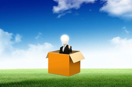 out think: Hombre de negocios an�nimo con pensar en el lado del cuadro para la idea de concepto