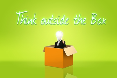 Anonymous businessman with think out side the box for concept idea Stock Photo - 10489438
