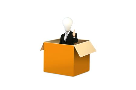 Anonymous businessman with think out side the box for concept idea Stock Photo - 10489264
