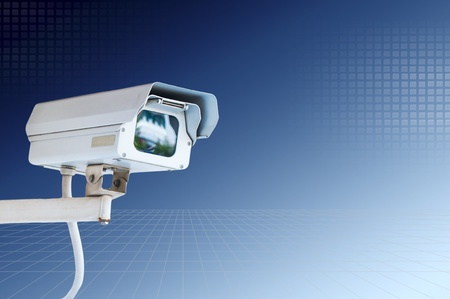 Security Camera or CCTV on blue sky Stock Photo - 10489878