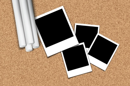 Four instant frame template for pixture over the cork board background Stock Photo - 10490514