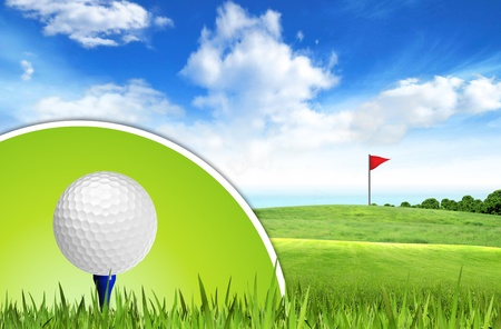 cut up: Golf ball on tee off with green grass field over the blue sky background  Stock Photo