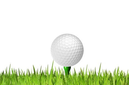 Golf ball on tee off isolated on white background Stock Photo - 10489437