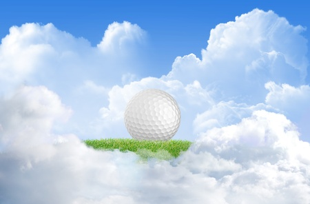 artistic designed: Close-up of golf ball with green grass and sand for web design background