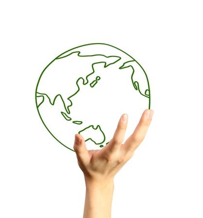 mapas conceptuales: Manos y de la Tierra. Símbolo de la protección del medio ambiente