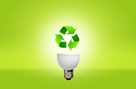 Lamp with recycle symbol for green eco concept photo
