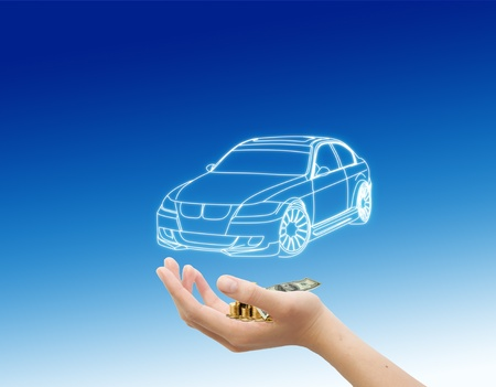 international money: hand and car with money, car buying concept Stock Photo