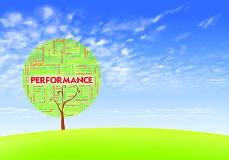 Business word cloud concept in tree form on blue sky, performance Stock Photo - 10490326
