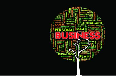 telework: Business word cloud concept in tree form, business