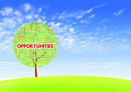 telework: Business word cloud concept in tree form on blue sky, opportunities Stock Photo