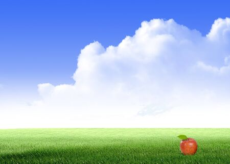fleecy: Apple on Green field and sky blue with white cloud