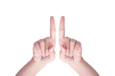Womans hand with double finger up isolated  Stock Photo - 10504151