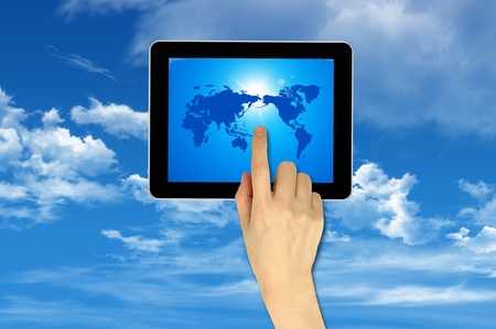 Cloud computing on touch pad Concept photo