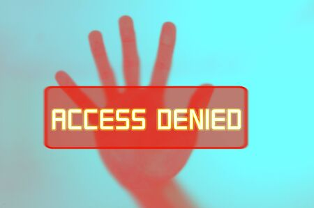 denying: hand in halting gesture, concept for access denied