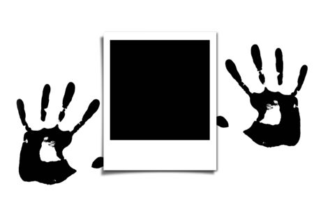 Polaroid and  Human hand prints. photo