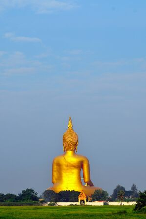 Image of behind big Buddha at angtong portrait photo