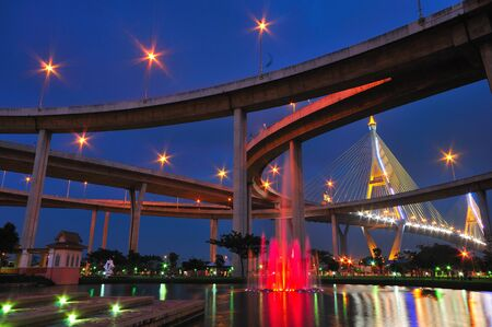bhumibol: Bhumibol Bridge in Thailand, also known as the Industrial Ring Road Bridge, in Thailand. The bridge crosses the Chao Phraya River twice.