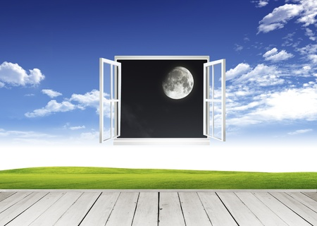 Wooden terrace and window looking out over a new world Stock Photo - 10785450