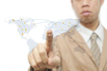 Businessman point finger on world map with ARROW Stock Photo - 10785437
