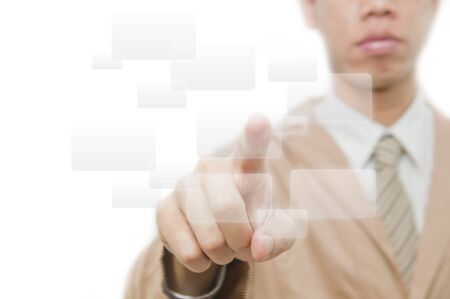 Businessman point finger on button Stock Photo - 10785316
