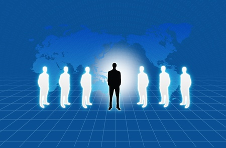 Group of business people standing against earth and world map blue background  Stock Photo - 10785370