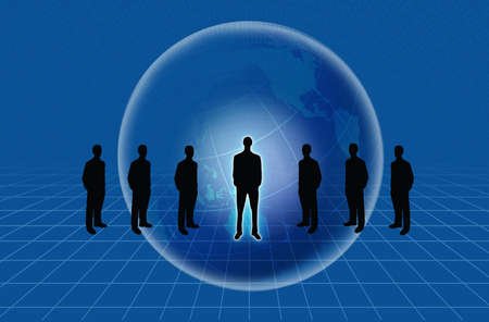 Group of business people standing against earth and world map blue background Stock Photo - 10785366