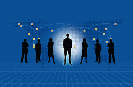 Group of business people standing against earth and world map blue background  photo