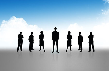 Group of business people standing against earth and world map blue background  Stock Photo - 10785390