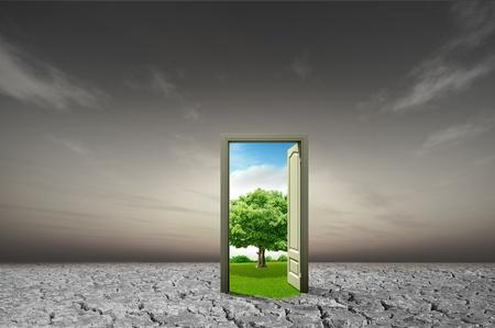 hoopt: Deur open naar de nieuwe wereld, voor milieu-concept en idee