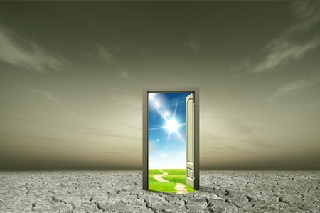 doorways: Door open to the new world, for environmental concept and idea Stock Photo