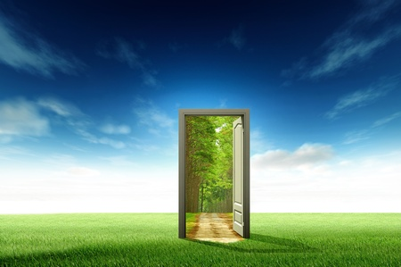 dream vision: Door open to the new world, for environmental concept and idea Stock Photo