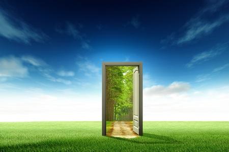 puerta verde: Puerta abierta al nuevo mundo, para el concepto de medio ambiente y la idea