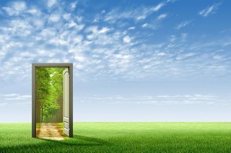 Tür zur neuen Welt zu öffnen, für Umwelt-Konzept und Idee Standard-Bild