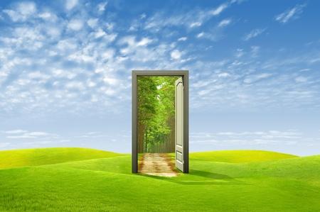 Deur open voor de nieuwe wereld, voor milieu-concept en idee