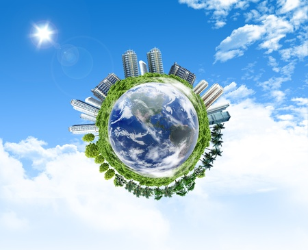 Global Earth with the building and forrest objects on its surface, for envionment concept Stock Photo - 10785452
