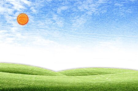 Beautiful landscape on green grass over the blue sky background photo