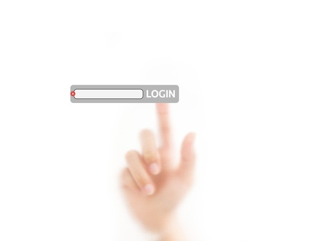login button: finger pressing login on the screen background