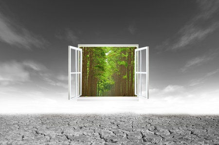 Window open to the new world, for environmental concept and idea photo